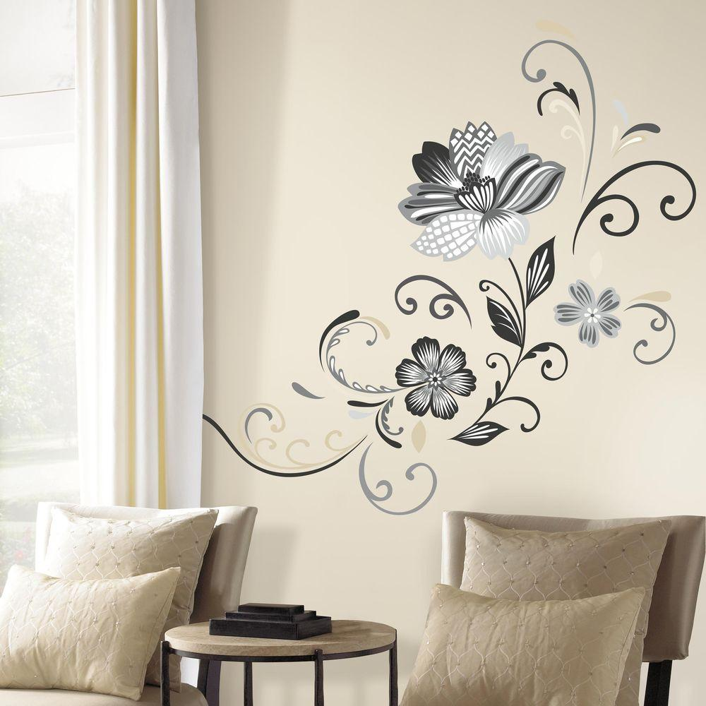 RoomMates 5 in. x 19 in. Black and White Flower Scroll 22-Piece Peel ...