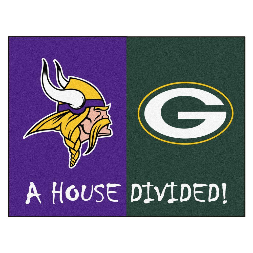 Fanmats Nfl Vikings Packers Purple House Divided 2 Ft 10