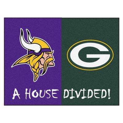 NFL Vikings/Packers Purple House Divided 2 ft. 10 in. x 3 ft. 9 in. Accent Rug