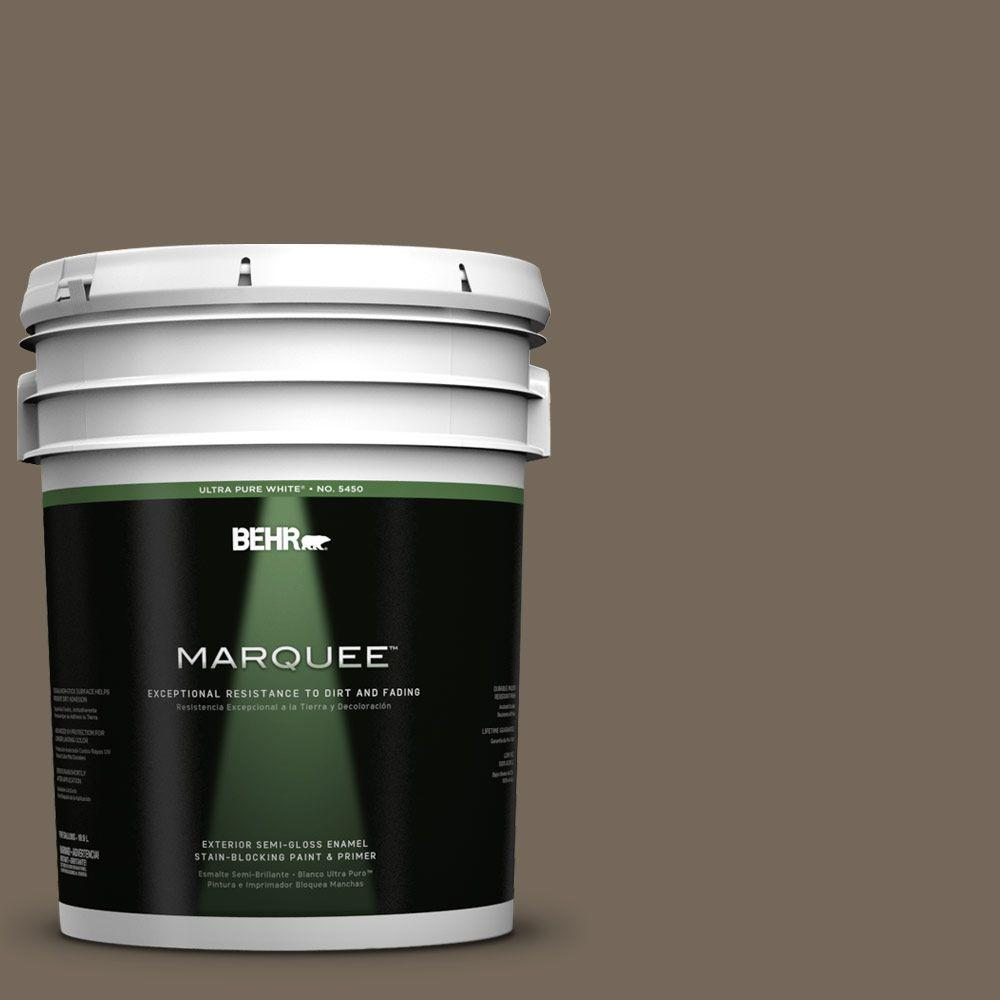 BEHR MARQUEE 5-gal. #720D-6 Toasted Walnut Semi-Gloss Enamel Exterior Paint