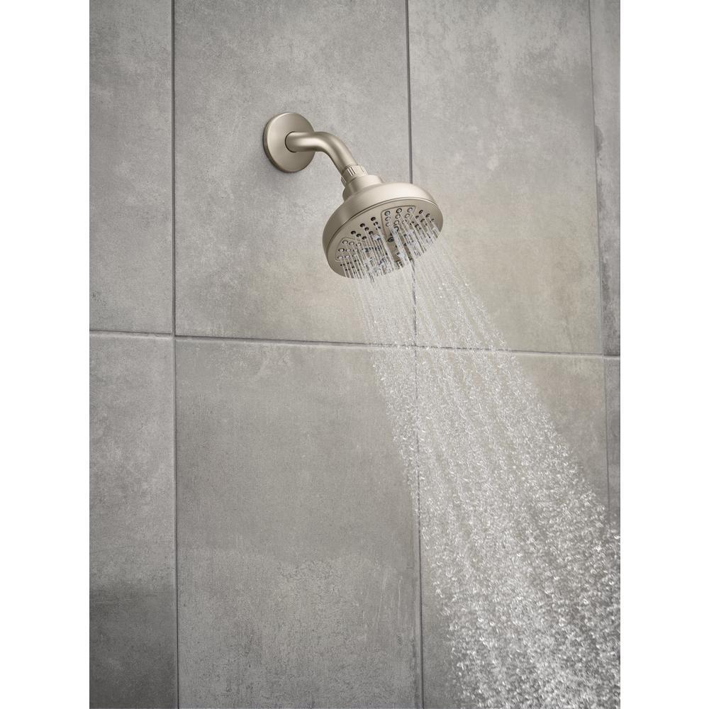 HydroEnergetix 8-Spray 5 in. Single Wall Mount Fixed Adjustable Shower Head in Spot Resist Brushed Nickel