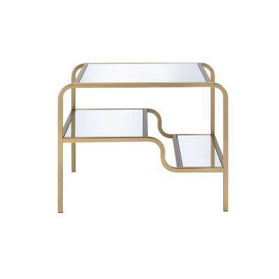 Astrid Gold and Clear Glass End Table