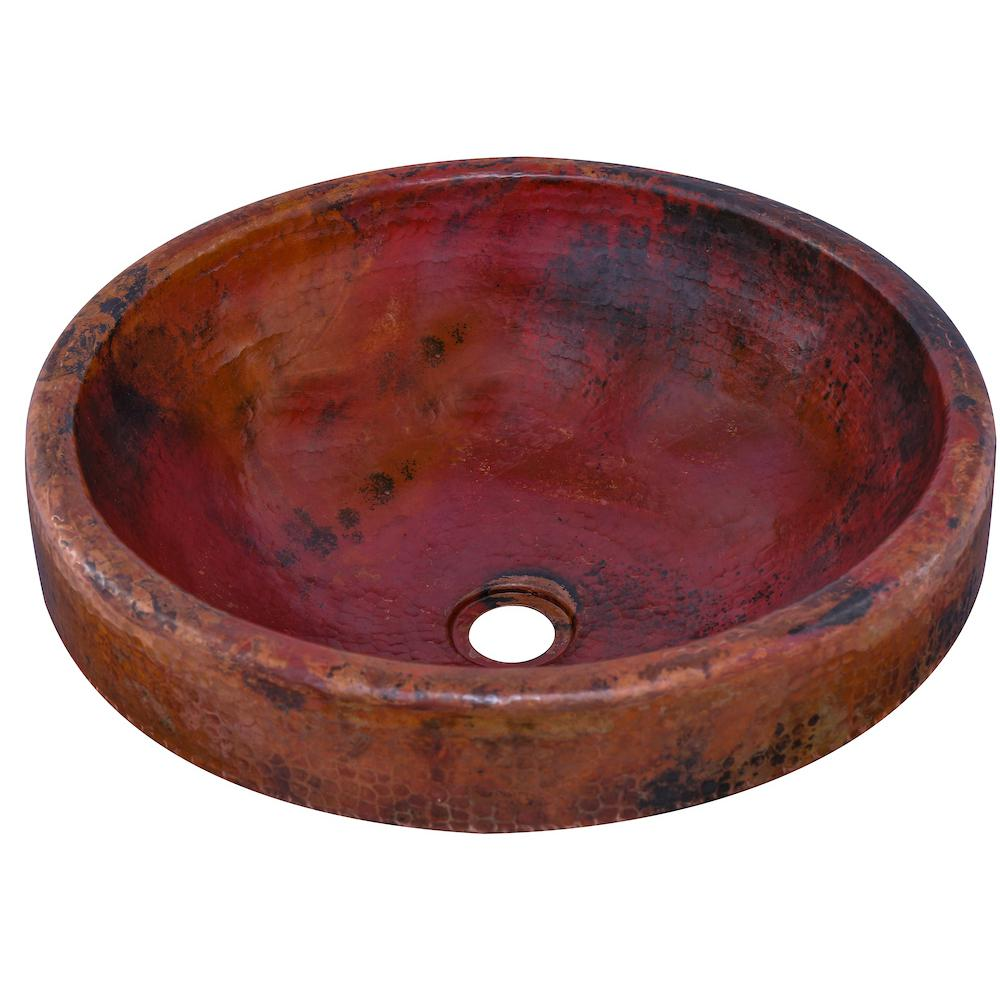 Granada Round Drop-In Copper Bathroom Sink in Natural