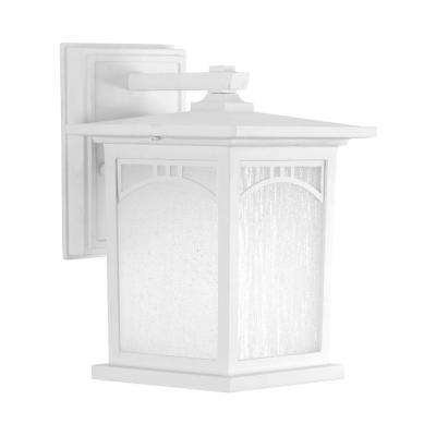 Residence Collection 1-Light 9.2 in. Outdoor Textured White LED Wall Lantern Sconce