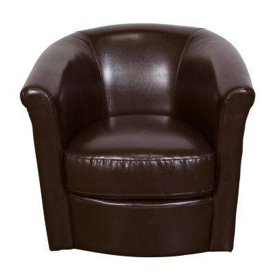 Marvel Chocolate Contemporary Leather-Look Swivel Accent Chair