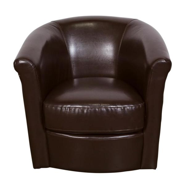 Chocolate Brown Accent Chairs.Marvel Chocolate Contemporary Leather Look Swivel Accent Chair