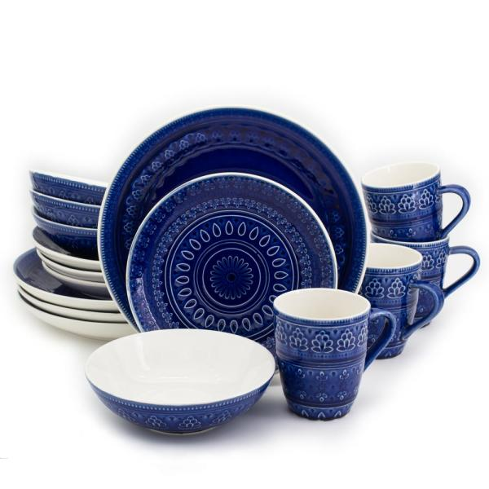 Euro Ceramica Fez 16-Piece Blue Dinnerware Set