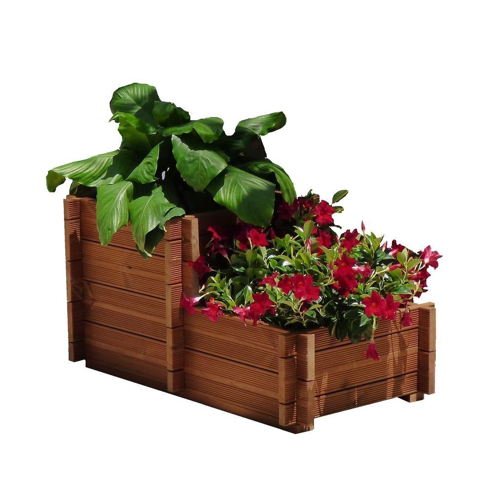 Unbranded 40 in. x 32 in. Wood Planter, Brown/Cherry Tone