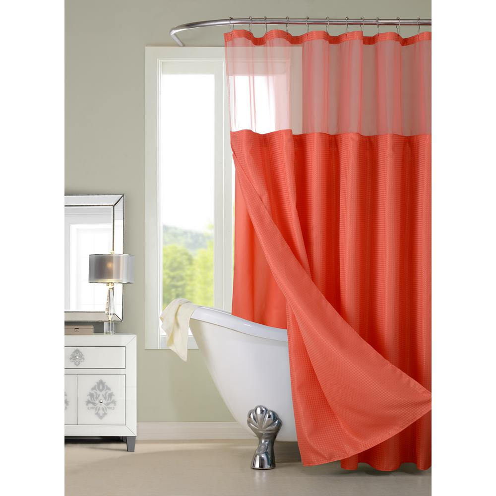 Dainty Home Complete 72 In Coral Shower Curtain CSCDLCO