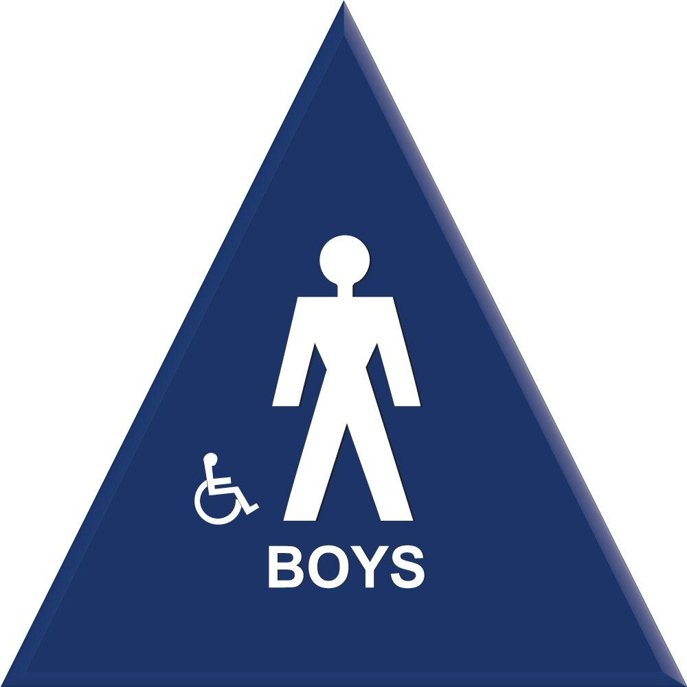lynch sign 12 in blue triangle with boys symbol with accessible