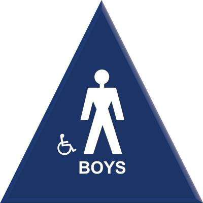 12 in. Boys Blue Triangle Restroom Sign With Accessible Symbol