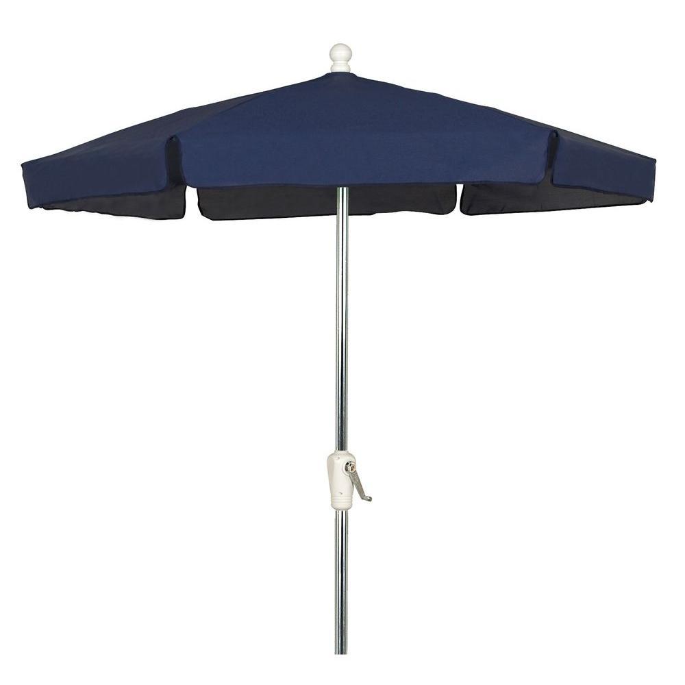 null 7.5 ft. Bright Aluminum Patio Umbrella in Navy Vinyl Coated Weave