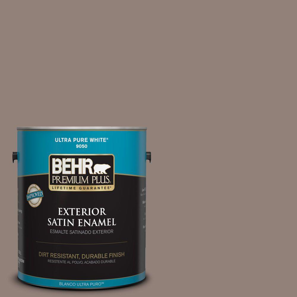 BEHR Premium Plus 1-gal. #BNC-22 Chocolate Chiffon Satin Enamel Exterior Paint