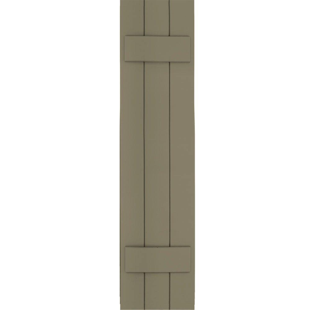 Winworks Wood Composite 12 in. x 50 in. Board & Batten Shutters Pair #660 Weathered Shingle