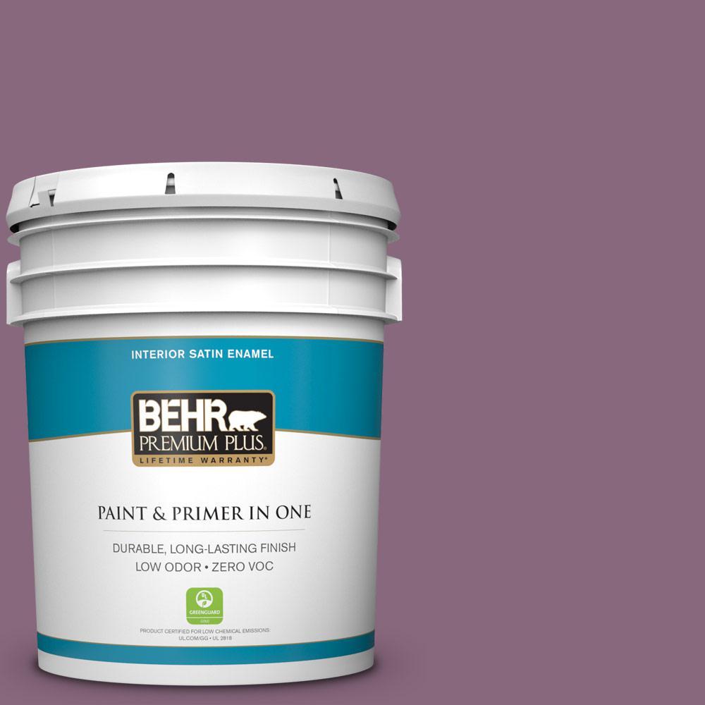 BEHR Premium Plus 5-gal. #S110-6 Plum Royale Satin Enamel Interior Paint