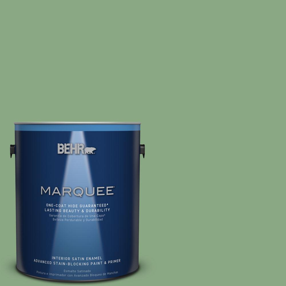 1 gal. #M400-5 Baby Spinach One-Coat Hide Satin Enamel Interior Paint