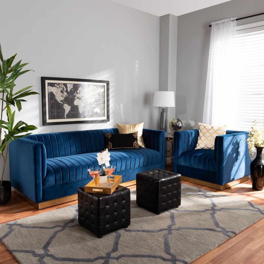 Baxton Studio Aveline 2 Piece Navy Blue Velvet Living Room
