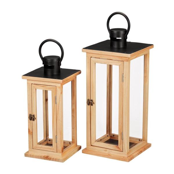 Home Decorators Collection Natural Wood Candle Hanging or Tabletop Lantern with Metal Top (Set of 2)