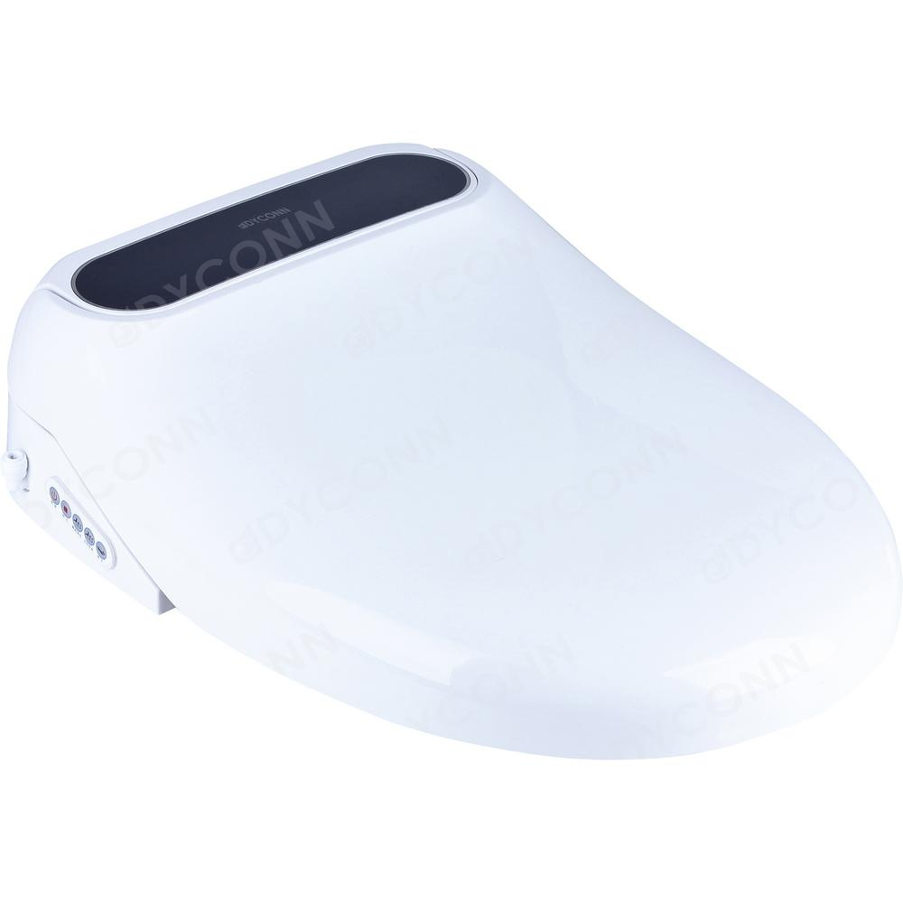 Dyconn Electric Bidet Seat for Elongated Toilets Anti-Microbial Coating in White
