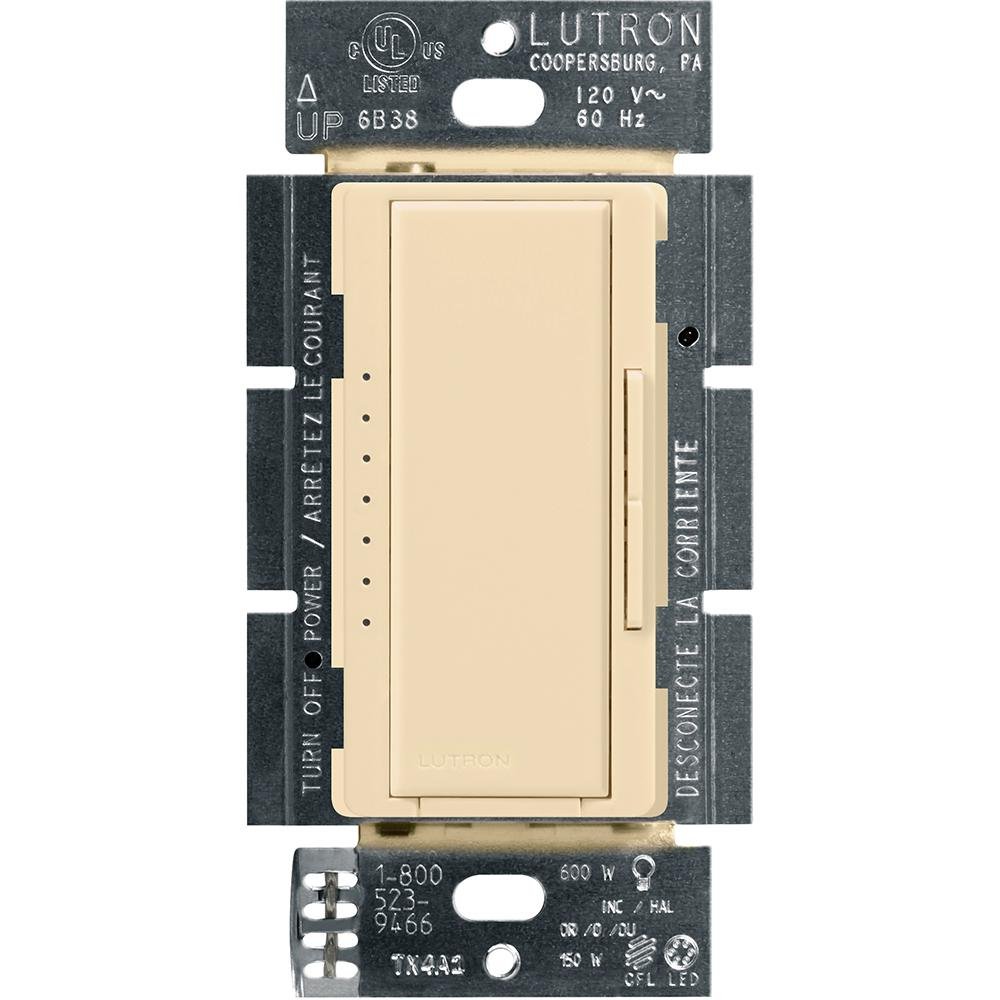 lutron maestro c l dimmer switch for dimmable led, halogen and incandescent bulbs, single pole or multi location, ivory  kerala electronics,കേരള