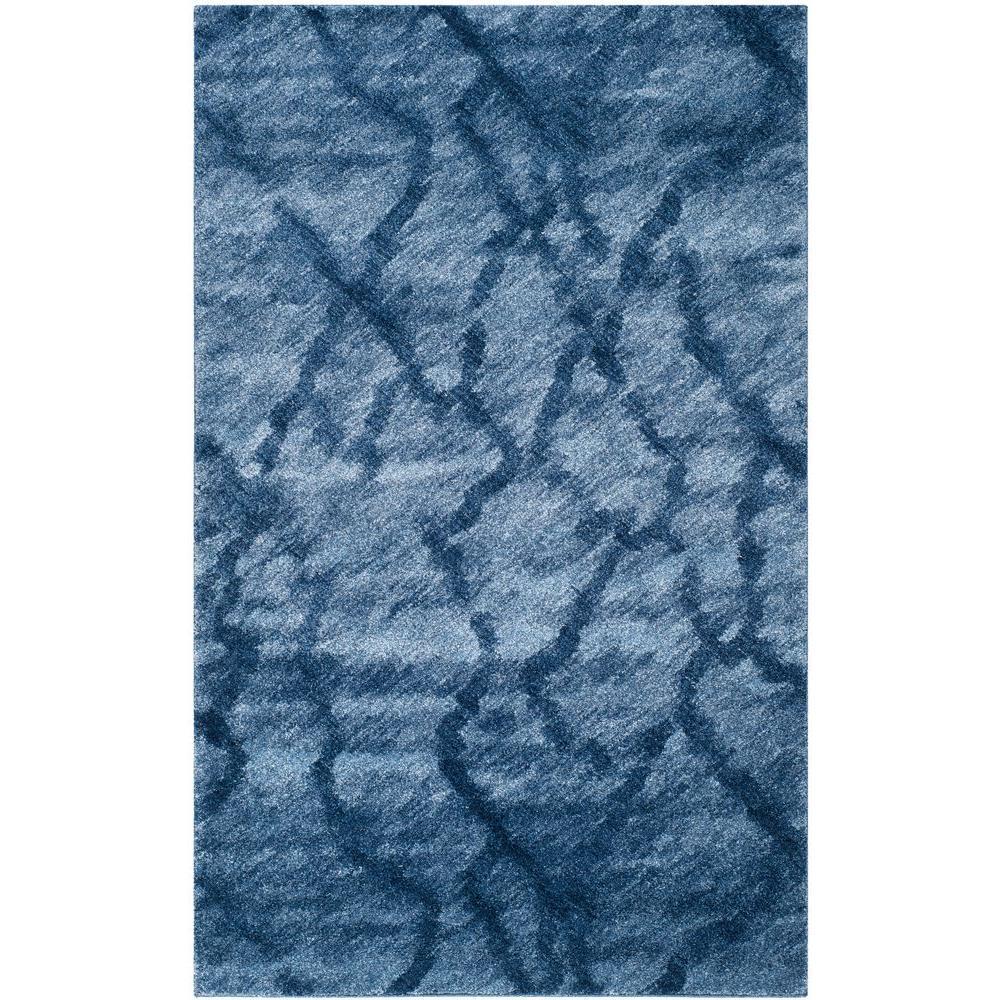 Retro Blue/Dark Blue 5 ft. x 8 ft. Area Rug