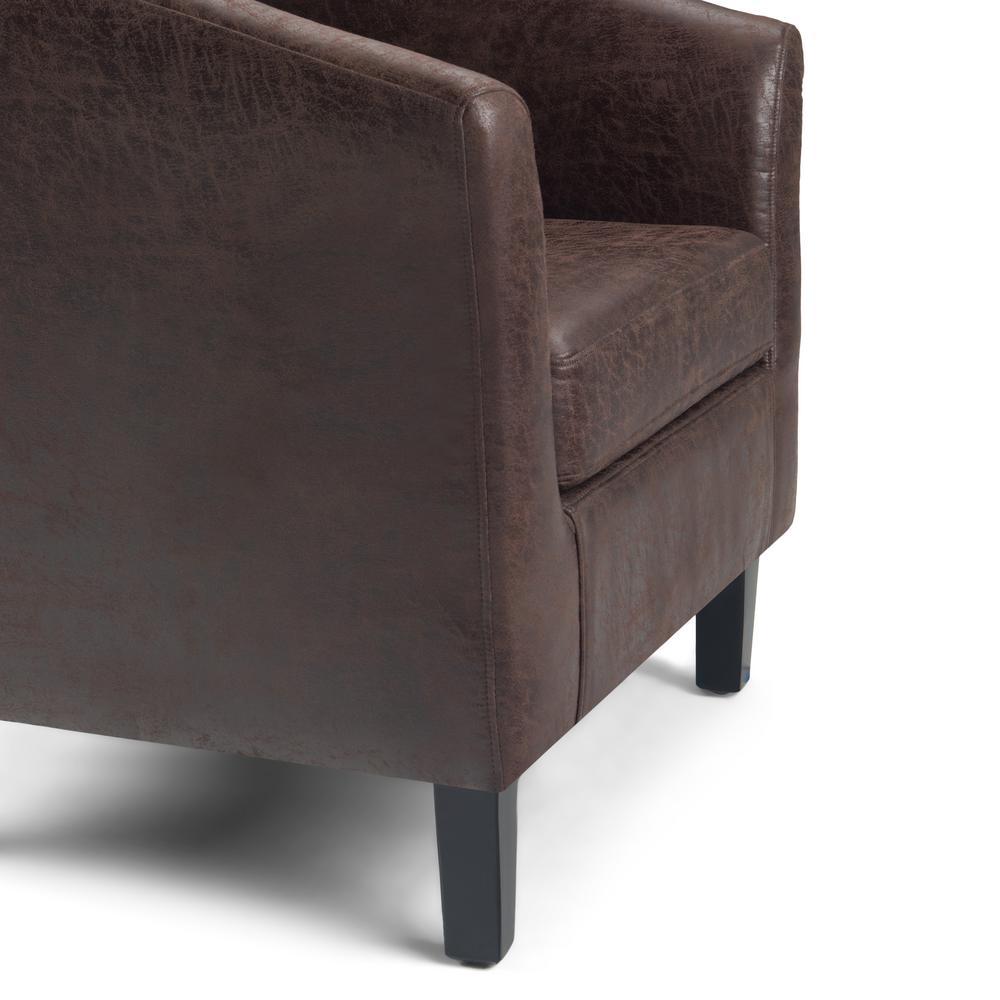 Amazing Simpli Home Merlow 30 In Distressed Brown Faux Air Leather Creativecarmelina Interior Chair Design Creativecarmelinacom