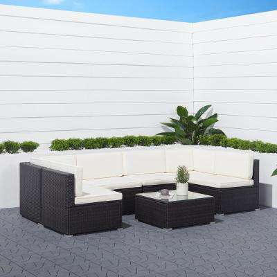 Venice 6-Piece Wicker Outdoor Sectional Set with White Cushions