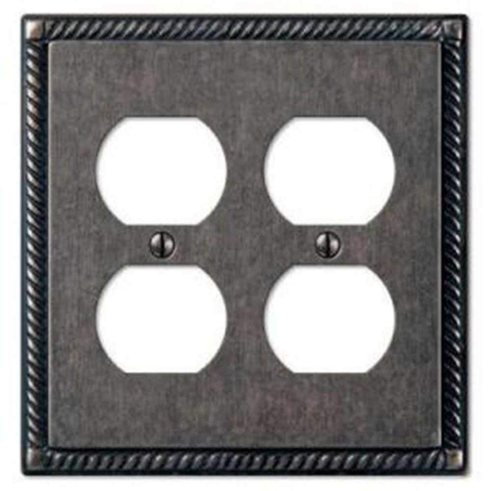 Creative Accents Tuscan 2 Duplex Wall Plate - Antique Pewter