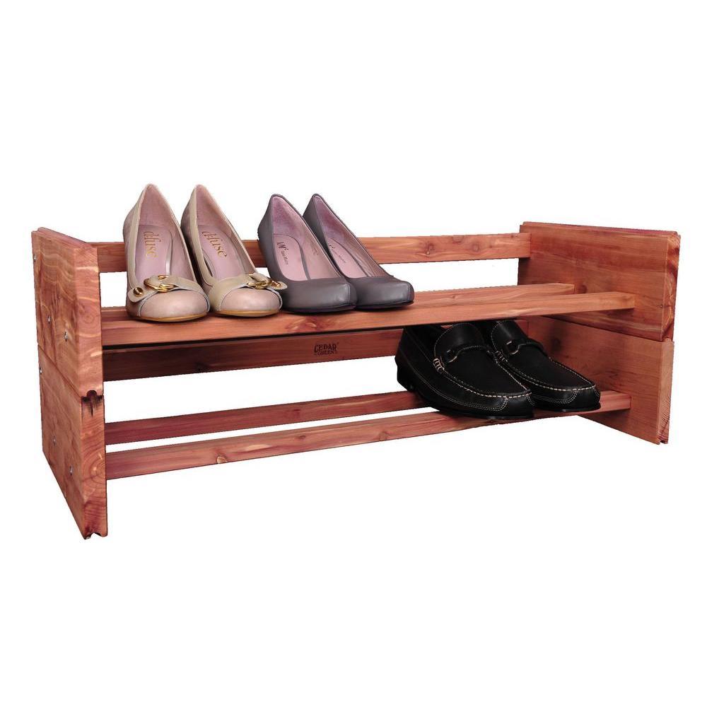 2 Tier Aromatic Cedar Shoe Rack