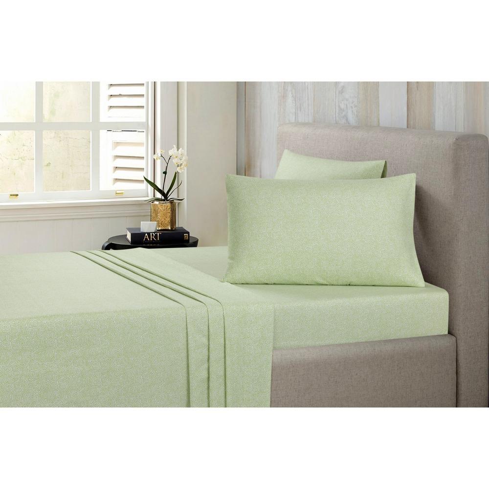 Floral Sage Cotton-Flannel Sage King Sheet Set