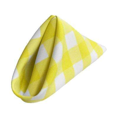 18 in. x 18 in. White and Light Yellow Gingham Checkered Napkins (10-Pack)