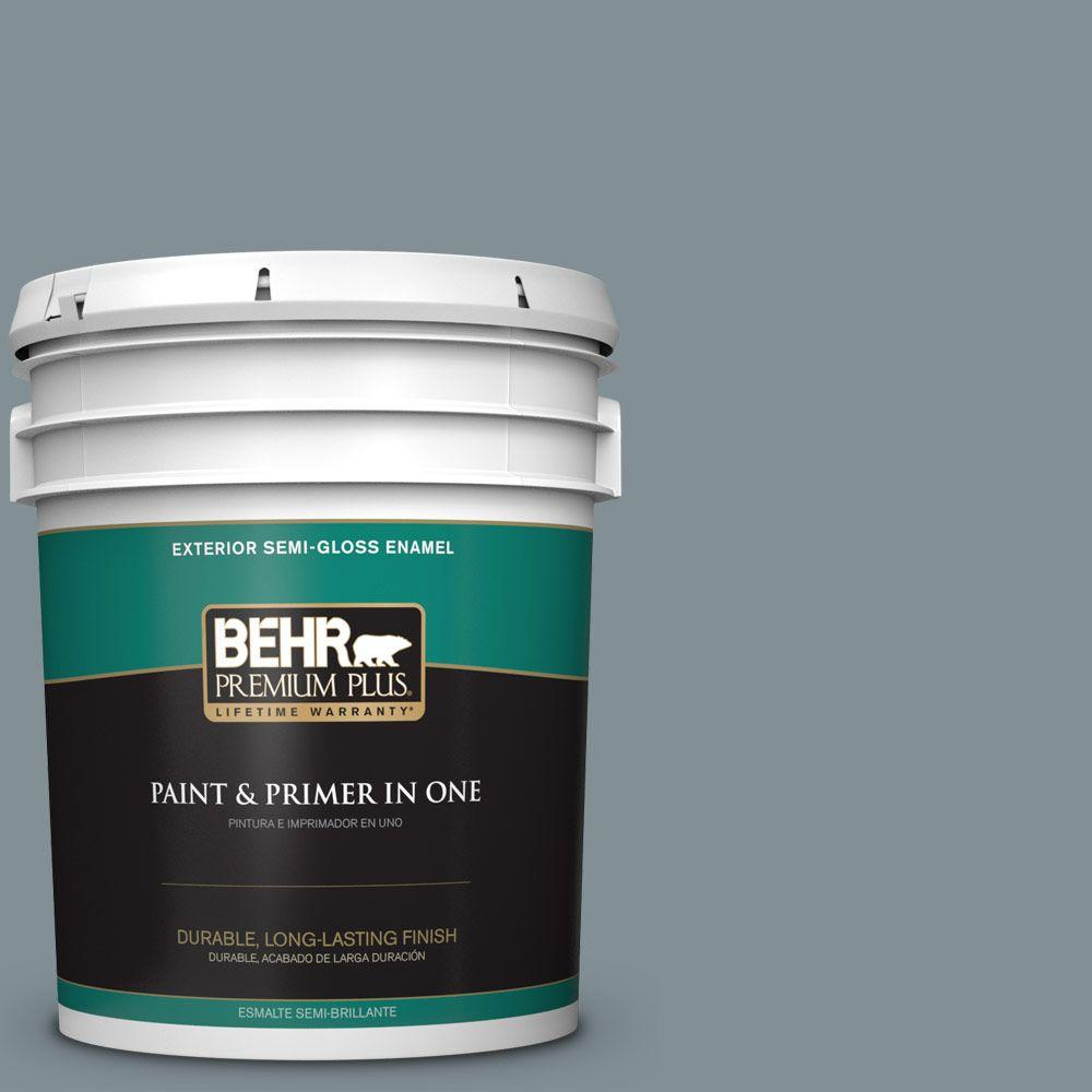 BEHR Premium Plus 5-gal. #740F-4 Dark Storm Cloud Semi-Gloss Enamel Exterior Paint, Grays