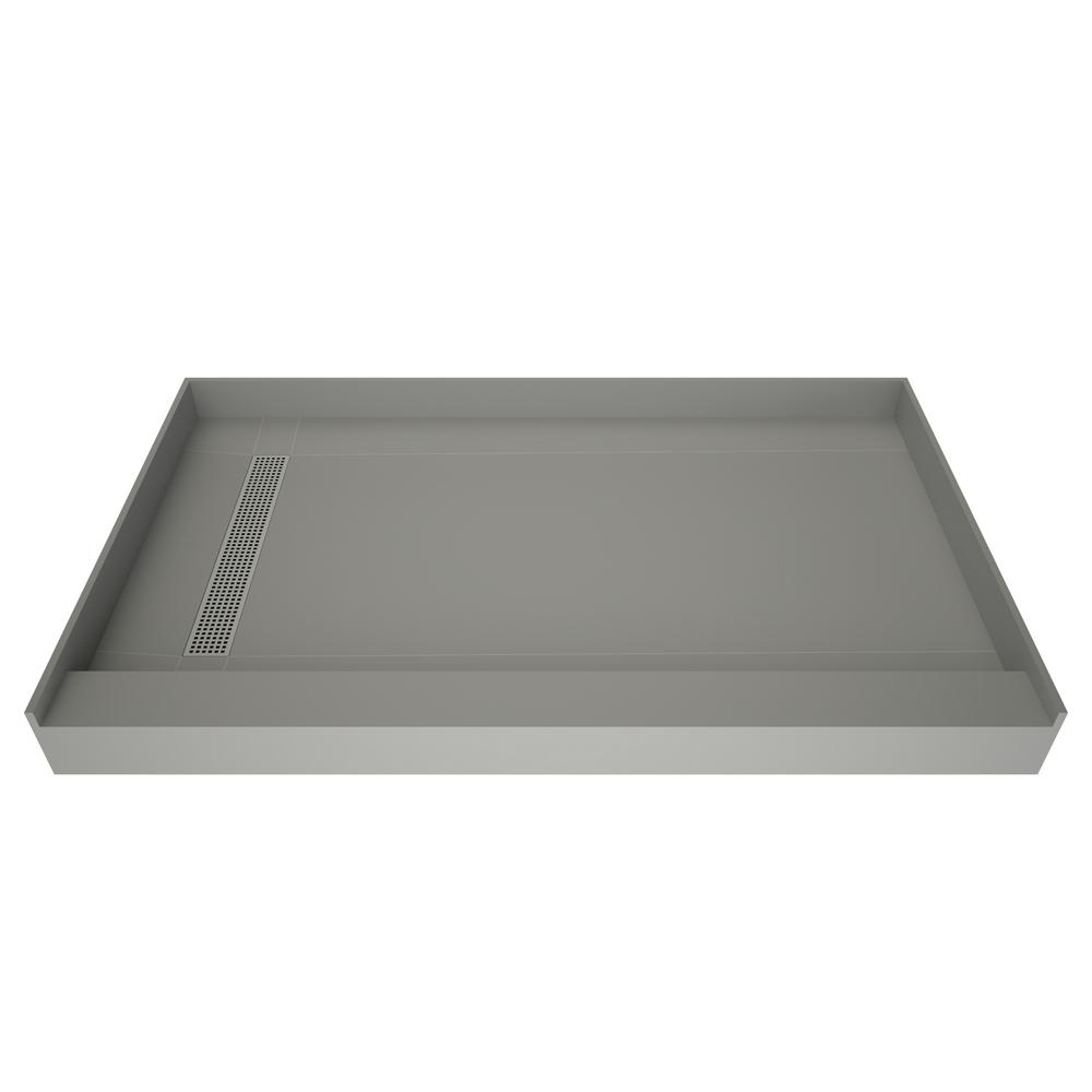 Tile Redi Redi Trench 36 in. x 42 in. Single Threshold Shower Base with Left Drain and Polished Chrome Trench Grate
