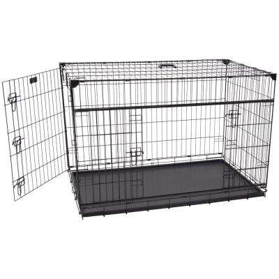 48 in. Sliding Double Door Dog Crate with Patented Corner Stabilizers, Removable Tray, Rubber Feet and Carrying Handle