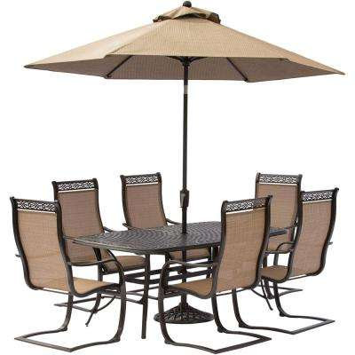 Manor 7-Piece Aluminum Rectangular Outdoor Dining Set with Spring Sling Chairs, Cast-Top Table, Umbrella and Chairs