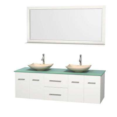 Centra 72 in. Double Vanity in White with Glass Vanity Top in Green, Ivory Marble Sinks and 70 in. Mirror