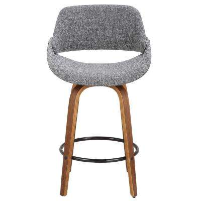 Fabrico 26 in. Walnut and Grey Swivel Counter Stool