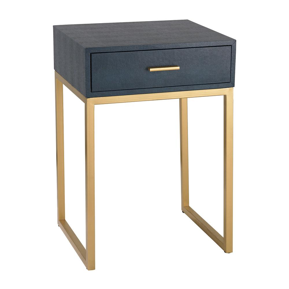 Ordinaire Titan Lighting Navy And Gold Storage Side Table