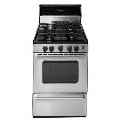 ProSeries 24 in. 2.97 cu. ft. Freestanding Gas Range with Sealed Burners in Stainless Steel