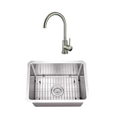 Undermount Stainless Steel 20 in. Radius Corner Single Bowl Bar and Prep Sink with Brushed Nickel Faucet