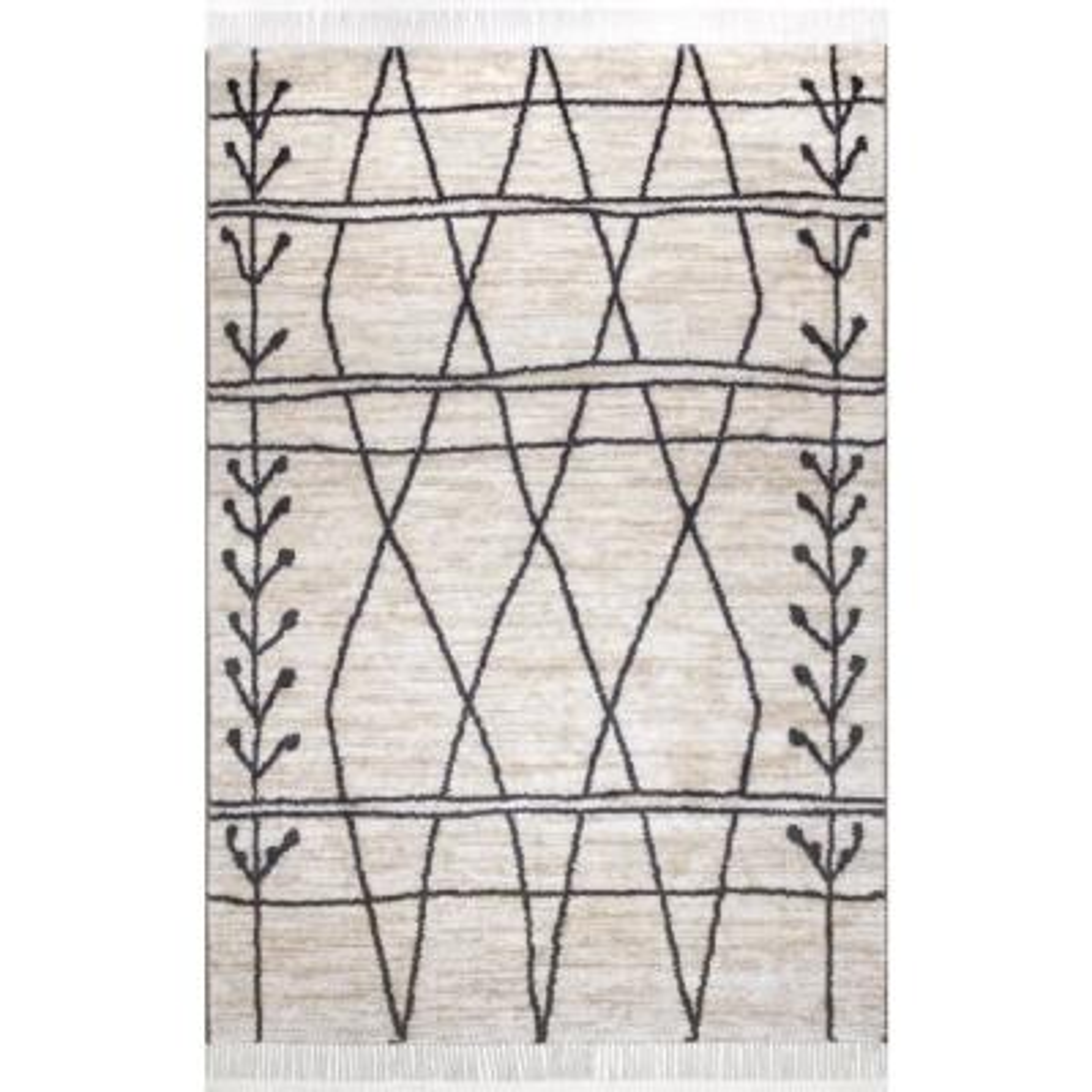 Amia Modern Tribal Beige 4 ft. x 6 ft. Area Rug