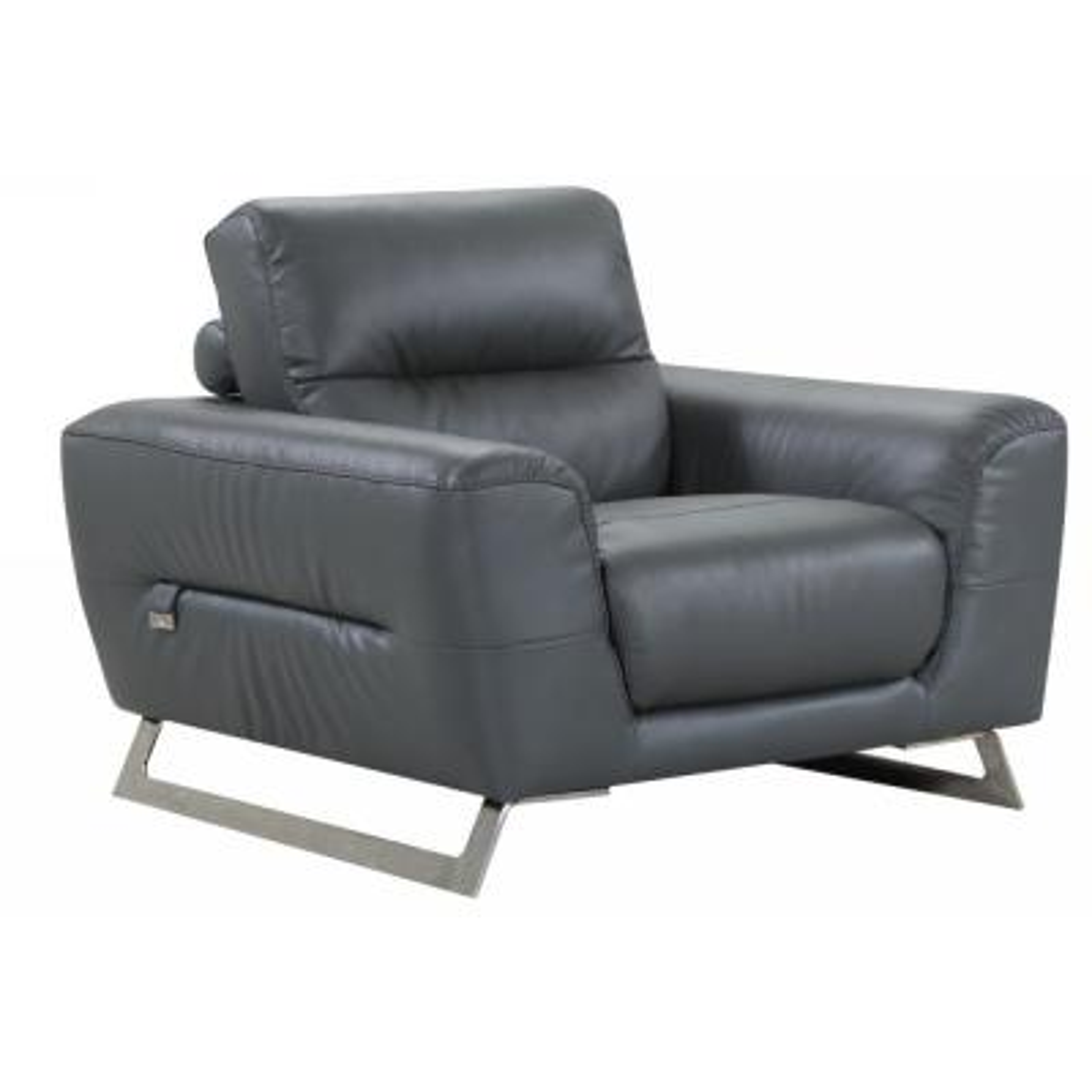 Charlie Dark Grey Leather Chair