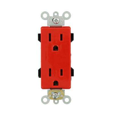 Decora Plus 15 Amp Commercial Grade Self Grounding Duplex Outlet, Red