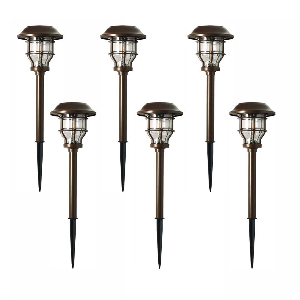 Hampton Bay Solar Br Outdoor Integrated Led 2500k 10 Lumens Vintage Bulb Landscape Pathway Light Set 6 Pack