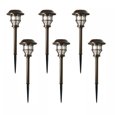 Solar Brass Outdoor Integrated LED 2500K 10-Lumens Vintage Bulb Landscape Pathway Light Set (6-Pack)