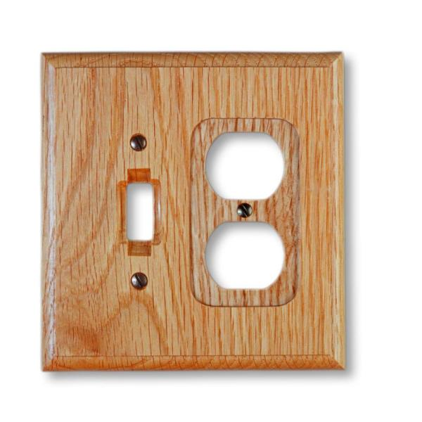 Carson 2 Gang 1-Toggle and 1-Duplex Wood Wall Plate - Light Oak