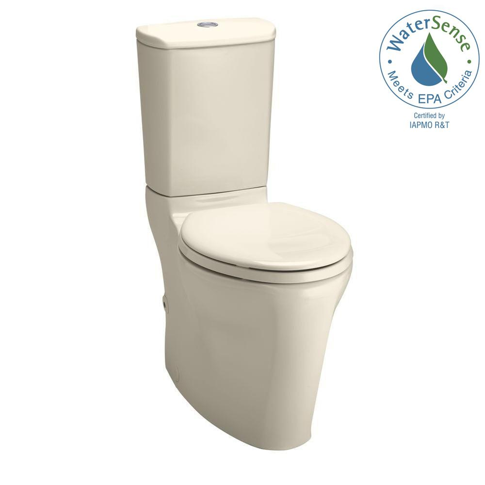 KOHLER Strela Comfort Height Elongated Two-Piece Toilet with Dual Flush Technology in Black Black-DISCONTINUED