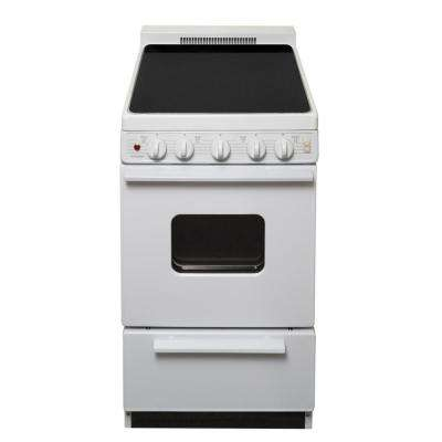 20 in. 2.42 cu. ft. Freestanding Smooth Top Electric Range in White