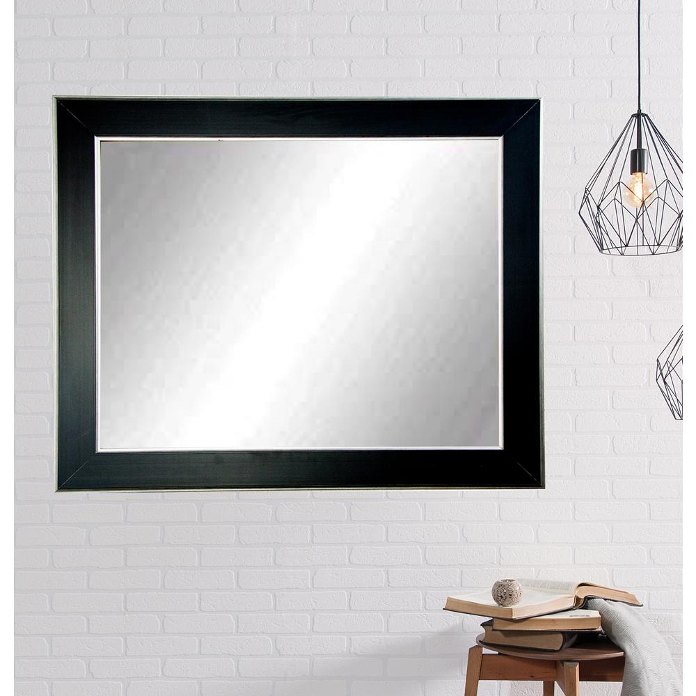 Silver Accent Black Framed Mirror-BM011L2 - The Home Depot