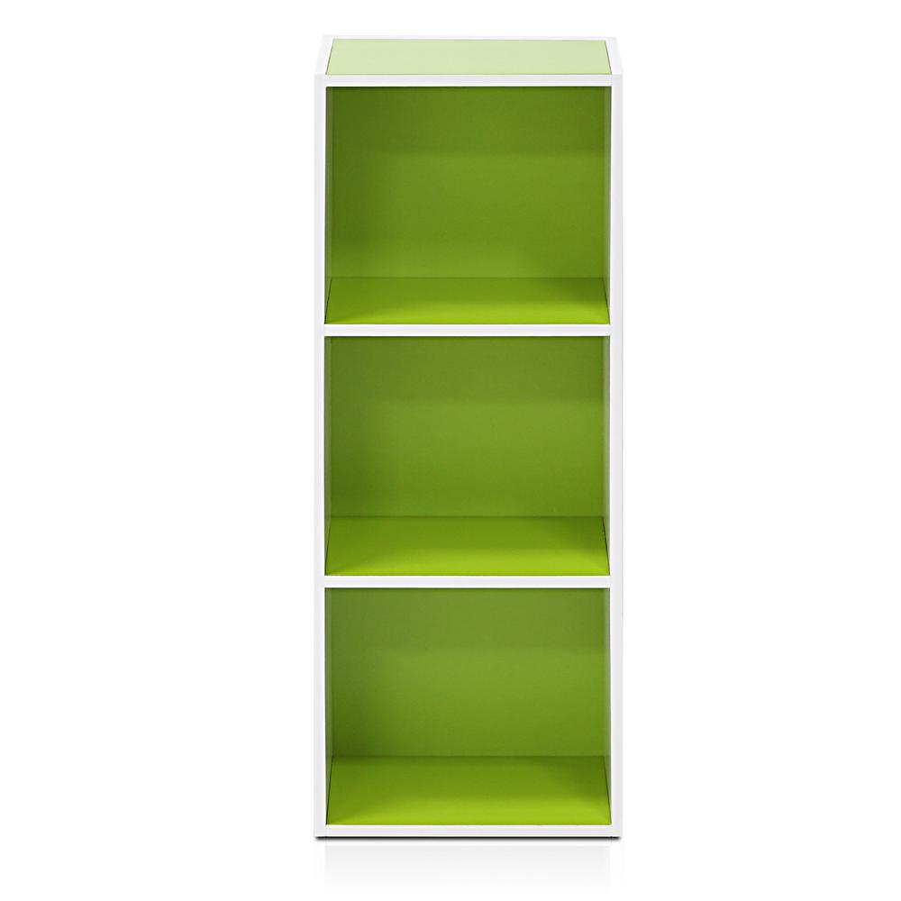 Tropika 31.49 in. Green/White Faux Wood 3-shelf Standard Bookcase with Storage